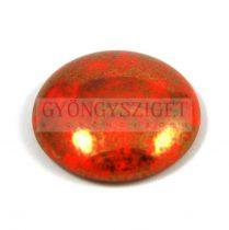 Cseh üveg kaboson - coral red bronze- 18mm