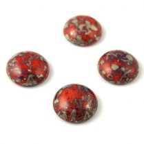 Cseh üveg kaboson - coral red bronze picasso - 18mm