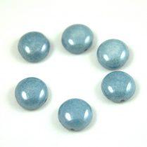 Candy - Cseh préselt kétlyukú gyöngy - Alabaster Blue Luster - 12mm