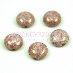 Candy - Cseh préselt kétlyukú gyöngy - Alabaster Purple Bronze Luster - 12mm