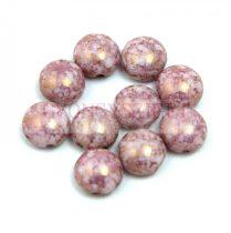 Candy - Cseh préselt kétlyukú gyöngy - Alabaster Purple Bronze Luster - 6mm