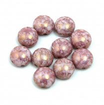 Candy - Czech Pressed Glass Bead - Alabaster Alabaster Purple Bronze Luster - 8mm