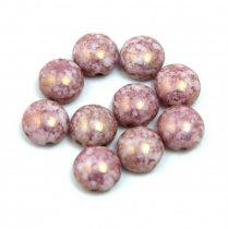 Candy - Cseh préselt kétlyukú gyöngy - Alabaster Purple Bronze Luster - 8mm