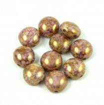 Candy - Cseh préselt kétlyukú gyöngy - Alabaster Pink Bronze Luster - 8mm