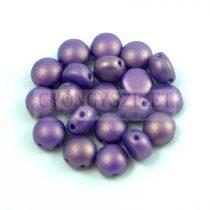 Candy - Cseh préselt kétlyukú gyöngy - Purple Golden Shine - 6mm