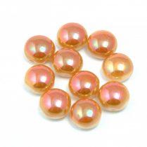 Candy - Cseh préselt kétlyukú gyöngy - Alabaster Peach Luster - 8mm