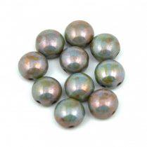 Candy - Cseh préselt kétlyukú gyöngy - Alabaster Green Brown Luster - 8mm