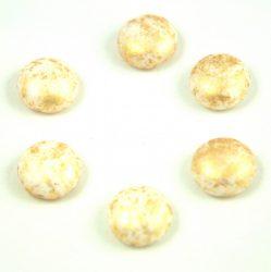 Candy - Cseh préselt kétlyukú gyöngy - Alabaster Gold Patina - 12mm