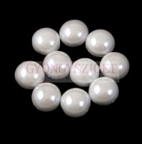 Candy - Czech Pressed Glass Bead - White Luster - 8mm