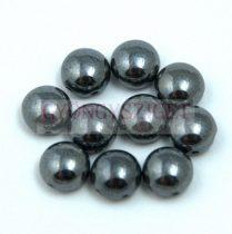 Candy - Cseh préselt kétlyukú gyöngy - Hematit - 6mm