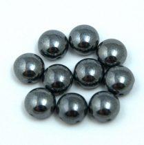 Candy - Cseh préselt kétlyukú gyöngy - Hematit - 8mm