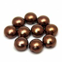 Candy - Cseh préselt kétlyukú gyöngy - Bronze - 8mm