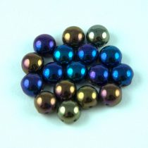 Candy - Cseh préselt kétlyukú gyöngy - Jet Purple Green Iris - 6mm