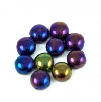 Candy - Cseh préselt kétlyukú gyöngy - Jet Purple Green Iris- 8mm