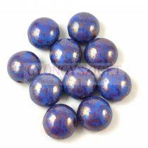 Candy - Cseh préselt kétlyukú gyöngy - Sapphire Bronze Luster - 8mm