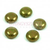 Candy - Cseh préselt kétlyukú gyöngy - Green Pea Bronze Luster - 12mm