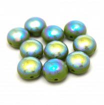 Candy - Cseh préselt kétlyukú gyöngy - Green AB - 8mm