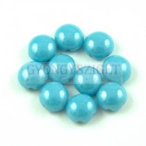 Candy - Cseh préselt kétlyukú gyöngy - Turquoise Blue Luster - 8mm
