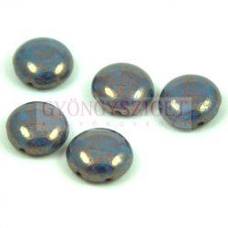 Candy - Cseh préselt kétlyukú gyöngy - Turquoise Blue Bronze Luster - 12mm