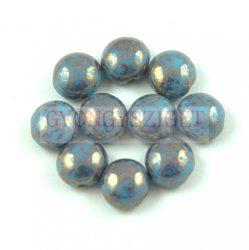 Candy - Cseh préselt kétlyukú gyöngy - Turquoise Blue Bronze Luster - 8mm
