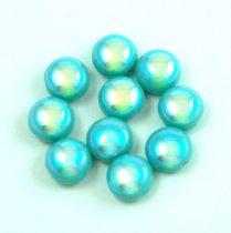 Candy - Cseh préselt kétlyukú gyöngy - Turquoise Green AB - 8mm