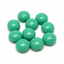 Candy - Cseh préselt kétlyukú gyöngy - Turquoise Green - 8mm