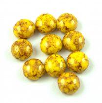 Candy - Cseh préselt kétlyukú gyöngy - Jonquil Bronze Luster - 8mm