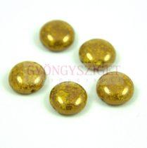 Candy - Cseh préselt kétlyukú gyöngy - Yellow Bronze Luster - 12mm