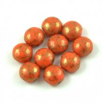 Candy - Cseh préselt kétlyukú gyöngy - Coral Bronze Luster - 8mm