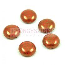 Candy - Cseh préselt kétlyukú gyöngy - Red Coral Bronze Luster - 12mm