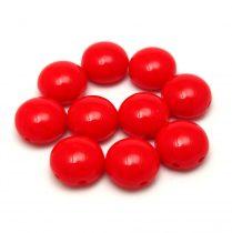 Candy - Cseh préselt kétlyukú gyöngy - Chilli Red - 8mm