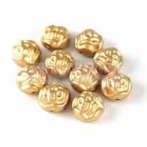 Candy Rose - Cseh préselt kétlyukú gyöngy - Aztec Gold - 8mm