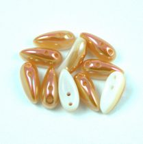 Chilli - Czech 2 Hole Glass Bead - alabaster peach luster - 4x11mm