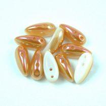 Chilli - cseh préselt kétlyukú gyöngy - alabaster peach luster - 4x11mm