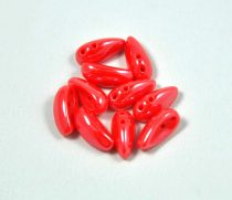 Chilli - Czech 2 Hole Glass Bead - opaque red luster  - 4x11mm