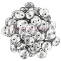 Cseh préselt kétlyukú lencse gyöngy - Silver Aluminium -6mm