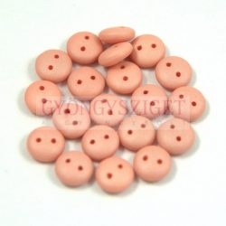 Cseh préselt kétlyukú lencse gyöngy - Silk Satin Peach -6mm