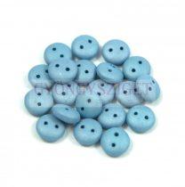 Cseh préselt kétlyukú lencse gyöngy - Silk Satin steel Blue -6mm