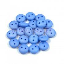 Cseh préselt kétlyukú lencse gyöngy - Silk Satin Sapphire -6mm