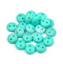 Cseh préselt kétlyukú lencse gyöngy - Silk Satin Turquoise Green -6mm