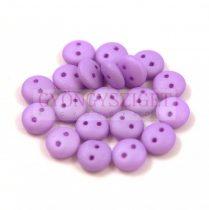 Cseh préselt kétlyukú lencse gyöngy - Silk Satin Purplec -6mm