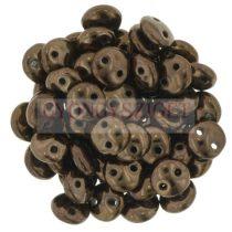 Cseh préselt kétlyukú lencse gyöngy - Dark Bronze -6mm