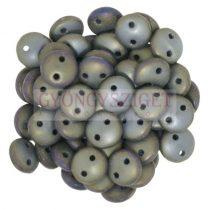 Cseh préselt kétlyukú lencse gyöngy - Metallic Matte Iris Brown -6mm