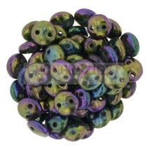 Cseh préselt kétlyukú lencse gyöngy - Metallic Purple Iris -6mm