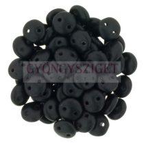 Cseh préselt kétlyukú lencse gyöngy - Opaque Matte Black -6mm