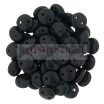 CzechMates 2 Hole Lentil Czech Glass Bead - opaque matte black -6mm