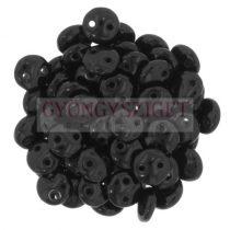 Cseh préselt kétlyukú lencse gyöngy - Opaque Black -6mm