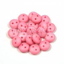 Cseh préselt kétlyukú lencse gyöngy - Silk Satin Pink -6mm