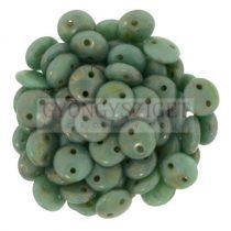 Cseh préselt kétlyukú lencse gyöngy - Opaque Matte Turquoise Bronze Picasso -6mm