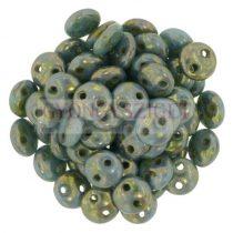 Cseh préselt kétlyukú lencse gyöngy - Opaque Turquoise Bronze Picasso -6mm